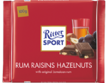 Ritter Sport Rum, Raisin & Hazelnut Milk Chocolate Bar 100g